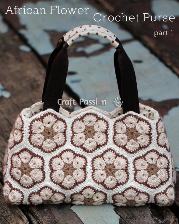 African Flower Purse Free Crochet Pattern Craft Ideas For Adults