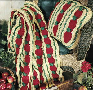 Apple Mile a Minute Afghan & Pillow Free Crochet Pattern