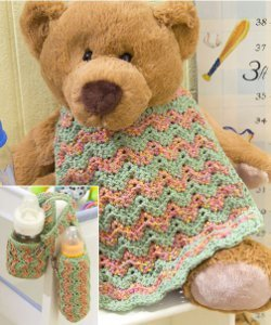 Baby Bottle Cozy & Bib Free Crochet Patterns