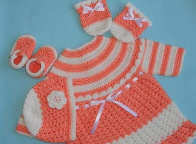 Baby Dress, Hat, Booties, Mittens Free Crochet Pattern