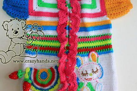 Baby Rainbow Cardigan Free Crochet Pattern