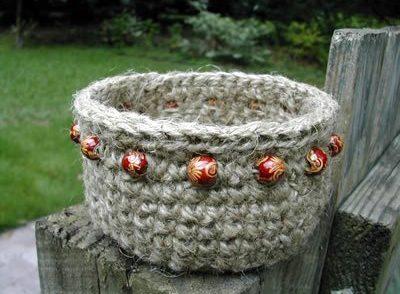 Beaded Jute Basket Free Crochet Pattern