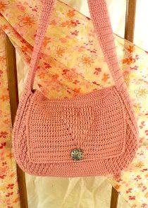 Bisque Rose Handbag Free Crochet Pattern