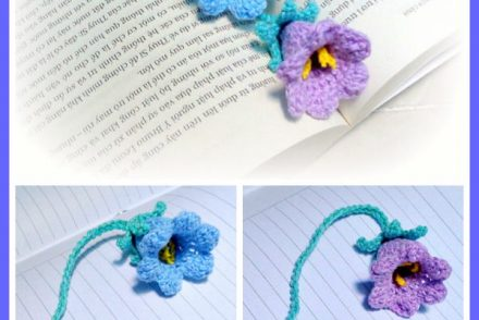 Blue Bellflower Bookmark Free Crochet Pattern