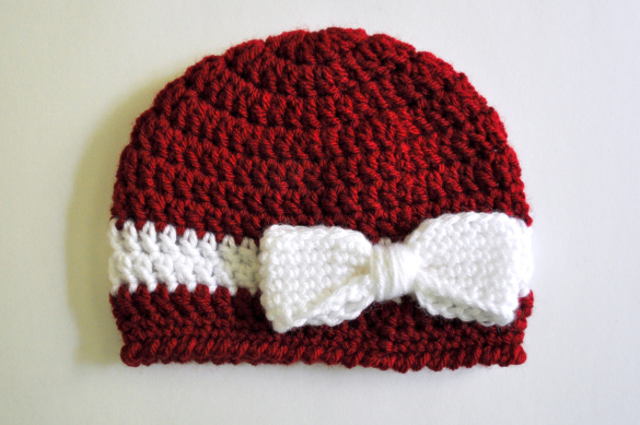 Bow & Ribbon Baby Hat Free Crochet Pattern