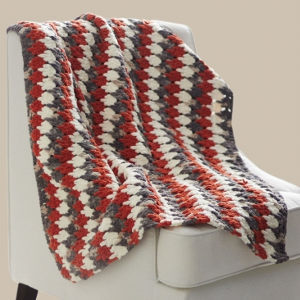 Burnt Orange Larksfoot Throw Free Crochet Pattern