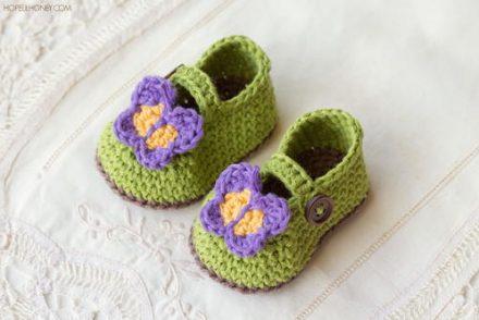 Butterfly Garden Baby Booties Free Crochet Pattern