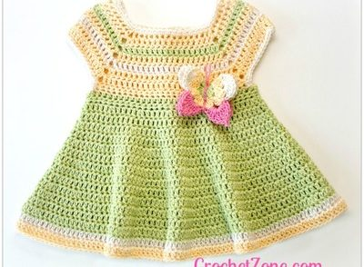 Butterfly Kisses Baby Dress Free Crochet Pattern