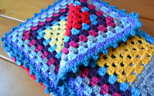 Cheerful Granny Square Baby Blanket Free Crochet Pattern