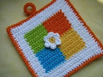 Colored Squares Potholder Free Crochet Pattern