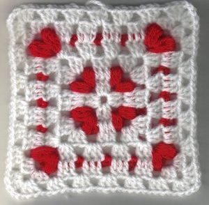 Cornered Hearts Granny Square Free Crochet Pattern