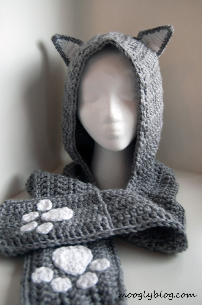 Cozy Cat Hooded Scarf Free Crochet Pattern Craft Ideas For Adults