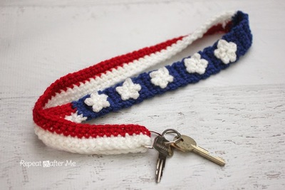 Crochet Stars and Stripes Lanyard Free Crochet Pattern