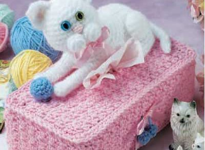 Cuddly Cats Tissue Box Cover Free Crochet Pattern