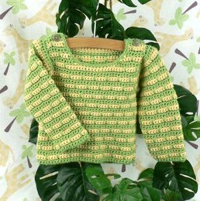 Devon Striped Baby Sweater Free Crochet Pattern