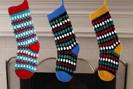Diamonds & Gems Christmas Stocking Free Crochet Pattern