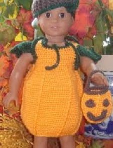 Doll Pumpkin Costume Free Crochet Pattern