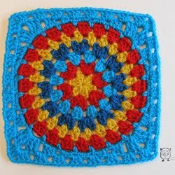 Double Rainbow Granny Square Free Crochet Pattern