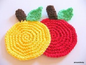 Easy Apple Coaster Free Crochet Pattern