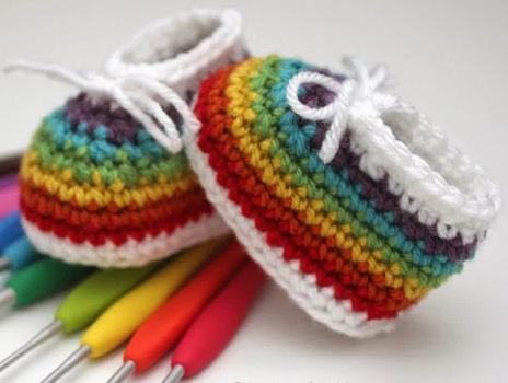 Easy Rainbow Baby Booties Free Crochet Pattern Craft Ideas For