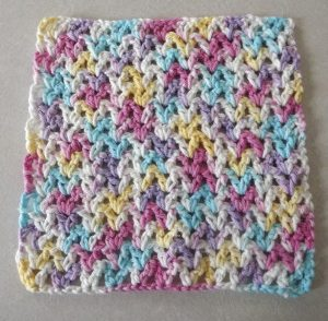 Easy V-Stitch Dishcloth Free Crochet Pattern