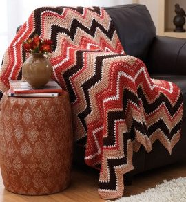 Fall Zig Zag Afghan Free Crochet Pattern
