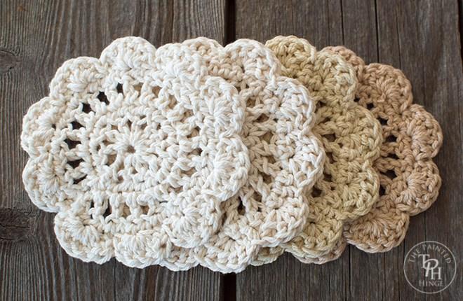 Farmhouse Style Coasters Free Crochet Pattern