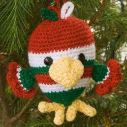 Festive Holiday Bird Ornament Free Crochet Pattern