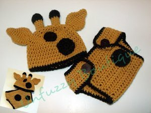 Giraffe Hat and Diaper Cover Set Free Crochet Pattern