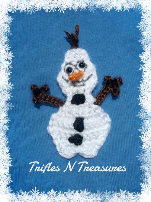 Goofy Frozen Snowman Applique Free Crochet Pattern Craft Ideas For