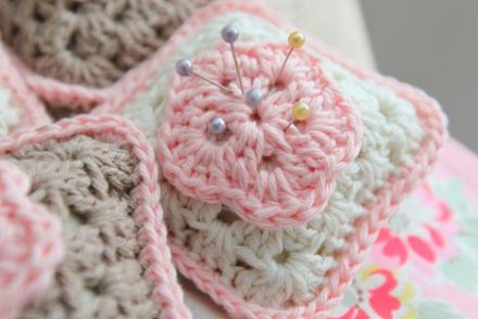 Granny Square Pin Cushion Free Crochet Pattern