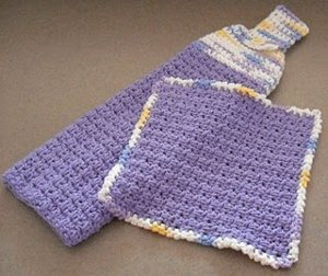 Hanging Towel and Matching Dishcloth Free Crochet Patterns