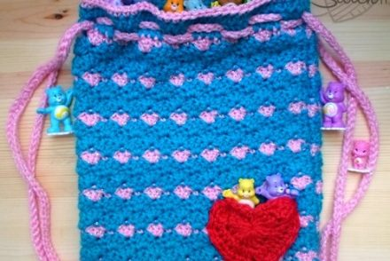 Heart Pocket Drawstring Backpack Free Crochet Pattern