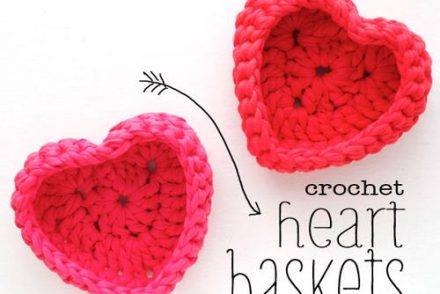 Heart Shaped Storage Basket Free Crochet Pattern