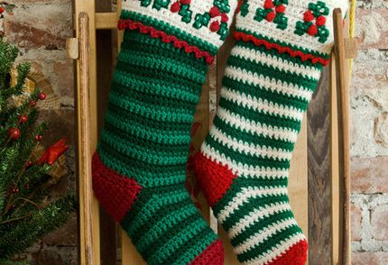 Holly & Berry Striped Stockings Free Crochet Pattern
