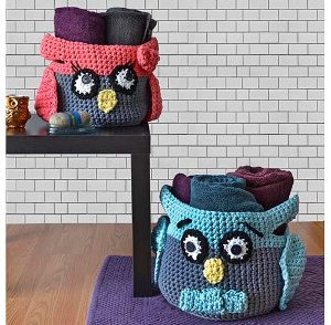 Hooty Owl Baskets Free Crochet Pattern