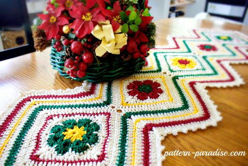 Christmas Table Runner Patterns Free.Joyful Christmas Table Runner Free Crochet Pattern Craft