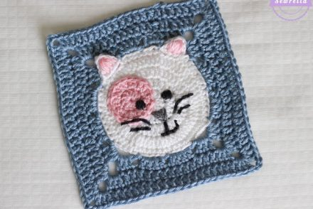 Kitty Cat Granny Square Free Crochet Pattern