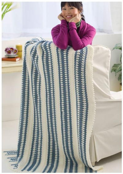 Laid Back Blue Blanket Free Crochet Pattern