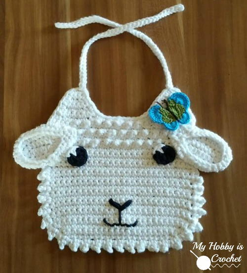 Little Lamb Baby Bib Free Crochet Pattern