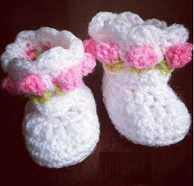 Little Miss Flower Baby Booties Free Crochet Pattern