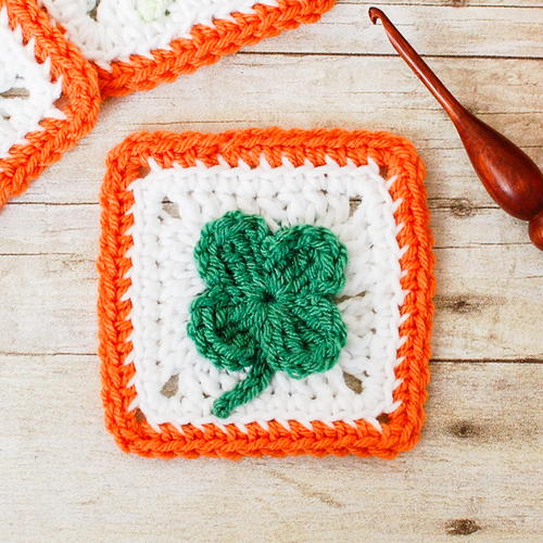 Lucky Clover Afghan Square Free Crochet Pattern