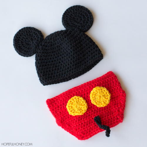 Mickey Mouse Inspired Hat & Diaper Cover Free Crochet Patterns