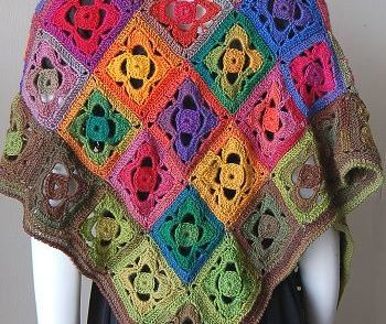 Mini Mochi Flower Garden Shawl Free Crochet Pattern