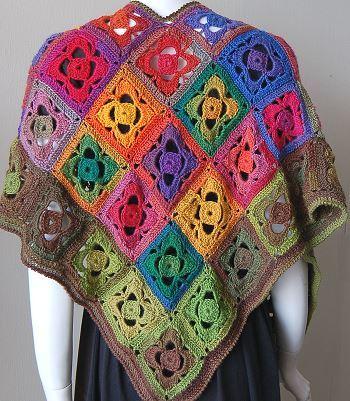 Mini Mochi Flower Garden Shawl Free Crochet Pattern