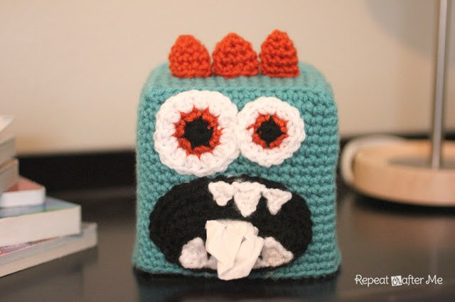 Monster Tissue Box Cover Free Crochet Pattern