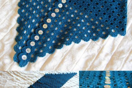 Multiplicity Buttoned Shawl Free Crochet Pattern