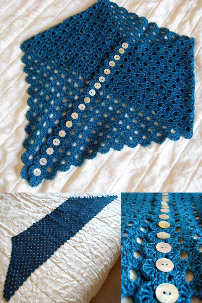 Multiplicity Buttoned Shawl Free Crochet Pattern