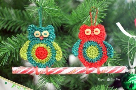Owl Candy Cane Ornament Free Crochet Pattern
