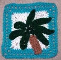 Palm Tree Granny Square Free Crochet Pattern